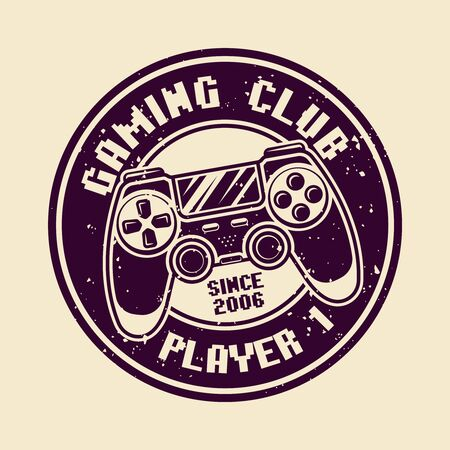 Gaming vector round badge, emblem or logo with console gamepad isolated illustration