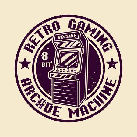 Retro gaming vector round badge, emblem or logo with arcade machine isolated illustration