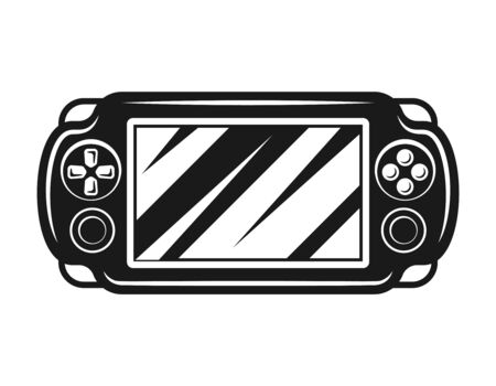 Portable gaming console vector monochrome isolated illustration Ilustrace