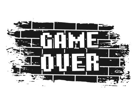 Game over pixel inscription on brick wall vector illustration in vintage monochrome style isolated on white background Banco de Imagens - 131693972