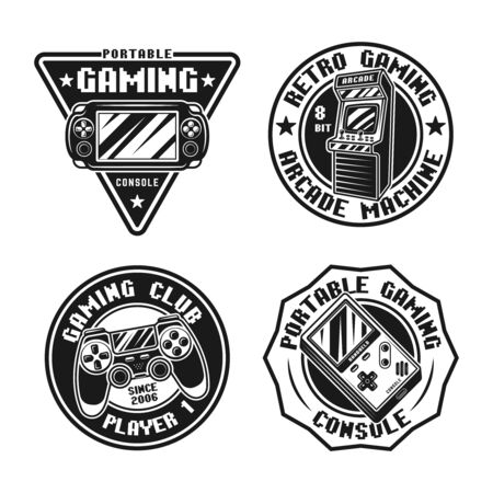 Gaming set of vector badges, emblems, labels or stickers in retro style isolated on white background