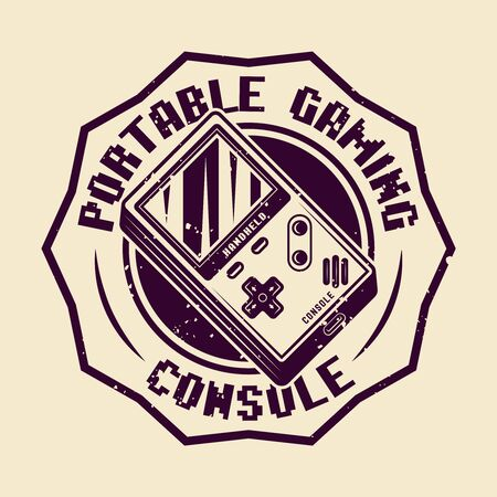 Handheld gaming console vector badge, emblem or logo isolated illustration