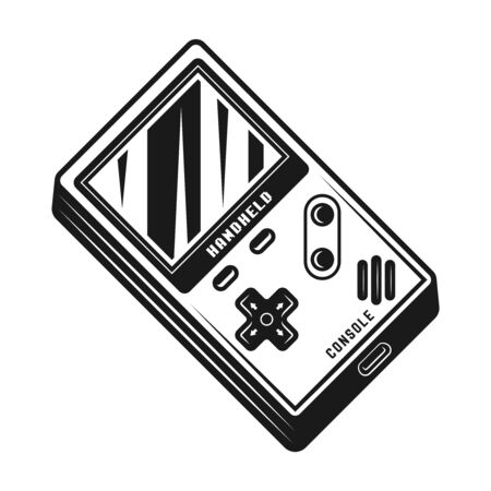 Handheld gaming console vector monochrome isolated illustration