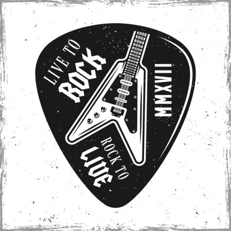 Guitar pick or mediator vector design template isolated on background with removable textures