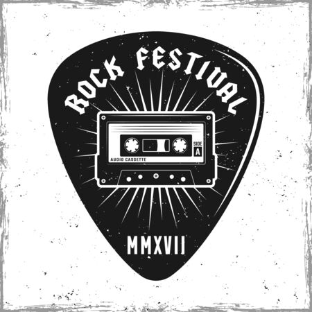 Guitar pick or mediator with audiotape and text rock festival. Vector design template isolated on background with removable textures Ilustrace