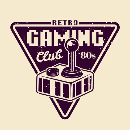 Retro gaming club vector badge, emblem or logo with joystick for old game console isolated illustration Ilustrace