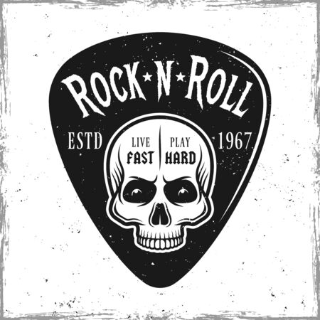 Guitar pick or mediator with skull and text rock n roll. Vector design template isolated on background with removable textures