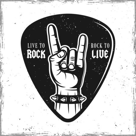 Guitar pick or mediator with heavy metal horns hand gesture. Vector design template isolated on background with removable textures Ilustrace