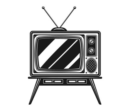 Old TV with antenna on desk vector black and white illustration isolated on white background