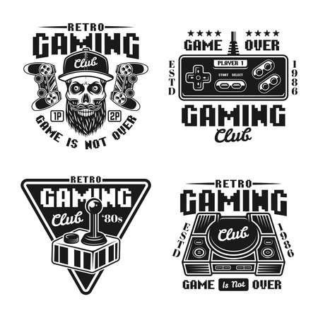 Gaming club set of vector badges, emblems, labels or stickers in retro style isolated on white background