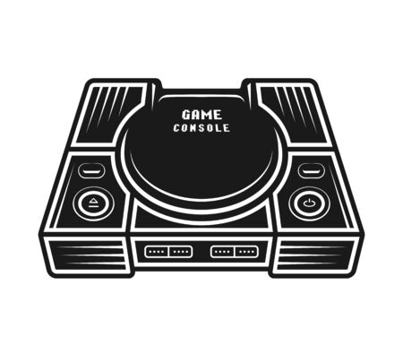 Game console vector monochrome object or design element isolated on white background