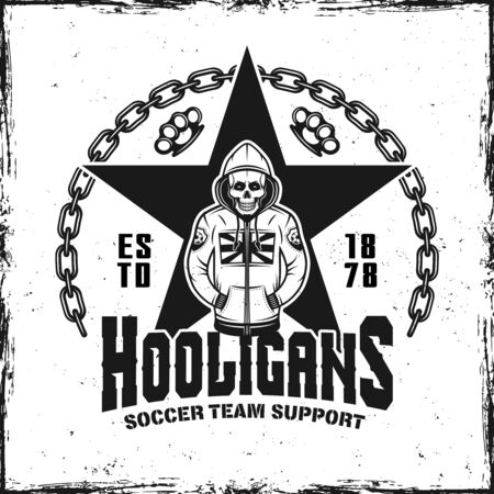 Hooligans vintage emblem with skeleton in hoodie vector illustration Çizim