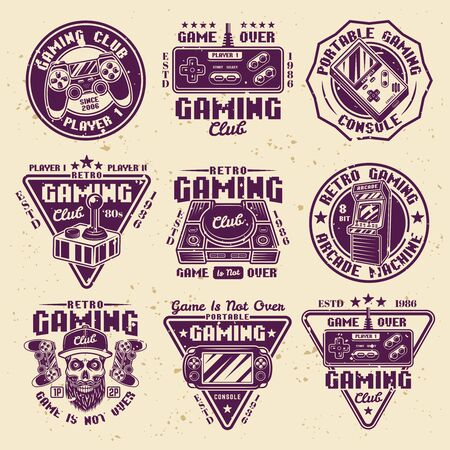 Gaming set of vector colored emblems, badges, labels or logos in retro style with removable textures on separate layers