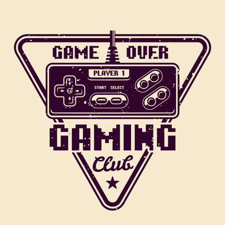 Gaming club vector badge, emblem or logo with retro gamepad for old game console isolated illustration
