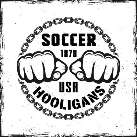 Soccer hooligans vintage round emblem with two fist and sample text vector illustration