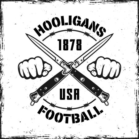 Football hooligans vintage emblem with two crossed knives vector illustration Ilustrace