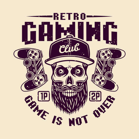 Retro gaming club vector badge, emblem or logo with bearded skull of gamer isolated illustration