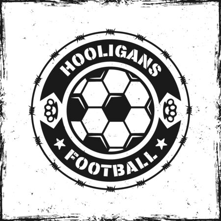 Football hooligans vintage round emblem with ball and sample text vector illustration