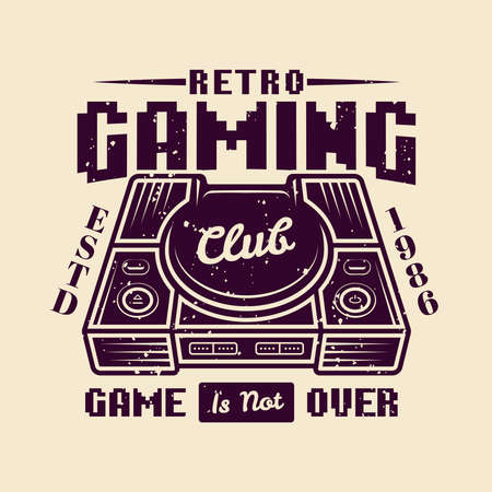 Retro gaming club vector badge, emblem or logo with home game console isolated illustration Illustration