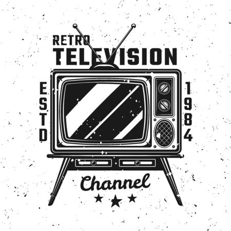 Retro TV channel vintage emblem. Vector illustration on background with removable textures on separate layers
