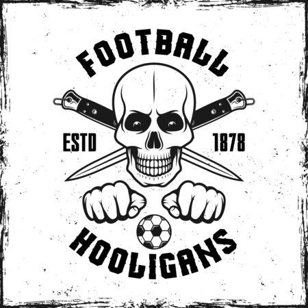 Hooligan skull vintage emblem with two crossed knives vector illustration Ilustrace