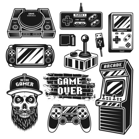 Retro gaming set of vector graphic objects or design elements in monochrome vintage style isolated on white background