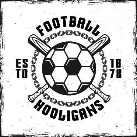 Football hooligans vintage emblem with soccer ball and two crossed bats vector illustration Çizim