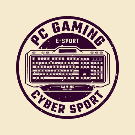 PC gaming round vector emblem with keyboard and sample text isolated illustration