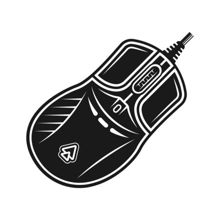 PC gaming mouse vector monochrome object or design element isolated on white background Ilustrace