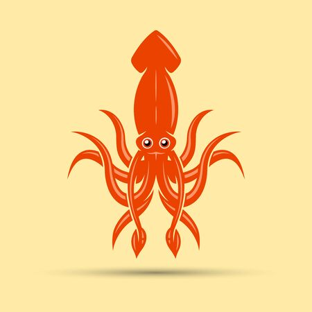 Squid colored vector illustration isolated on yellow light background