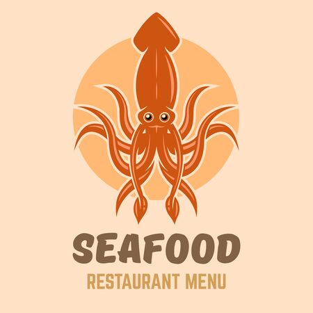 Squid logo concept for seafood restaurant menu vector colored template with sample text