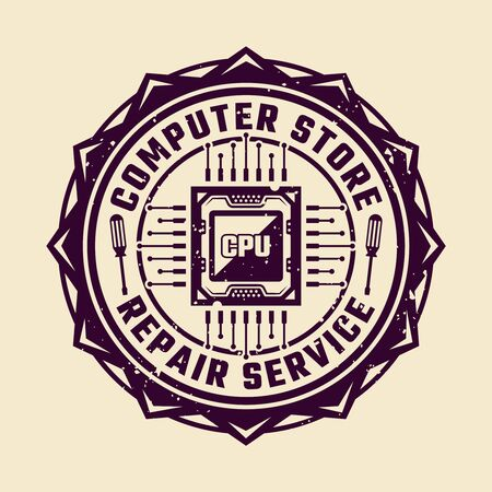 PC repair service vector round emblem or badge with computer CPU isolated colored illustration