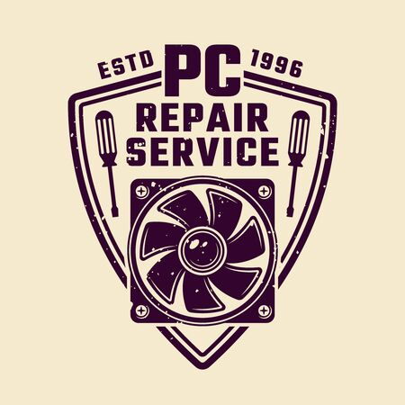 PC repair service vector shield emblem or badge isolated colored illustration