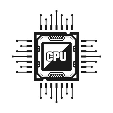 Computer CPU vector object or design element isolated on white background