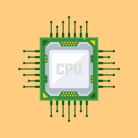 Computer CPU chip flat design style vector illustration on yellow background Ilustrace