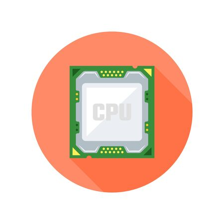 CPU computer chip flat design style isolated vector round icon with long shadow on white background Ilustrace