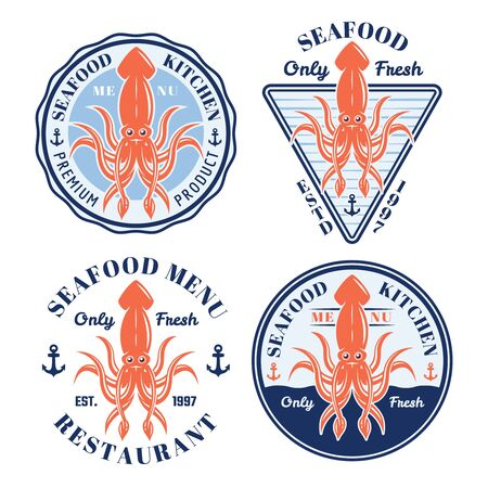 Seafood set of four vector colored restaurant badges, emblems, labels or logos with squid and sample text isolated on white background