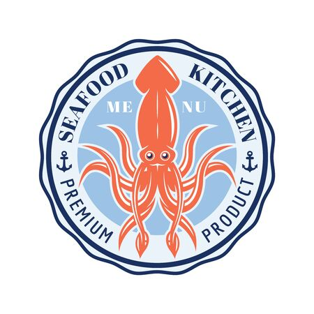 Seafood kitchen vector round emblem, badge, label or logo with squid isolated on white background Ilustrace
