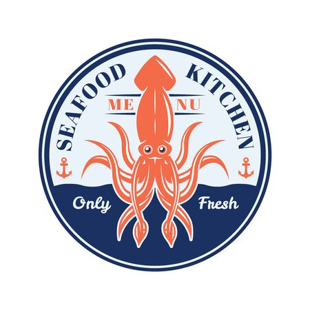 Squid vector round badge, emblem, label or logo for restaurant menu isolated on white background Ilustrace