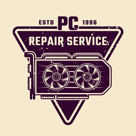 Computer repair service vector emblem, label, badge or logo with video card isolated colored illustration