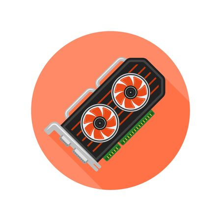 Video card flat design style isolated vector round icon with long shadow on white background