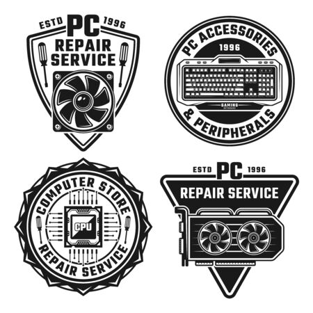 Computer repair service set of four vector monochrome emblems, badge, labels or logos isolated on white background Ilustrace