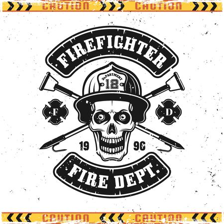 Skull of firefighter in helmet and crossed fire hooks vector emblem, badge, label or logo in vintage style isolated on background with grunge textures on separate layers Ilustrace