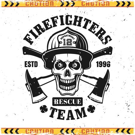Skull of firefighter in helmet and crossed axes vector emblem, badge, label or logo in vintage style isolated on background with grunge textures on separate layers