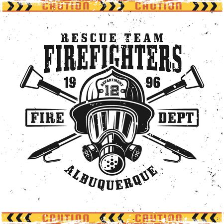 Firefighter head in gas mask and crossed fire hooks vector emblem, badge, label or logo in vintage style isolated on background with grunge textures on separate layers
