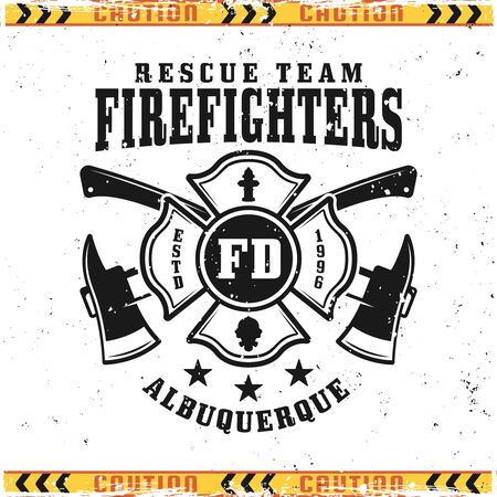 Firefighters vector emblem, badge, label or logo in vintage style isolated on background with grunge textures on separate layers
