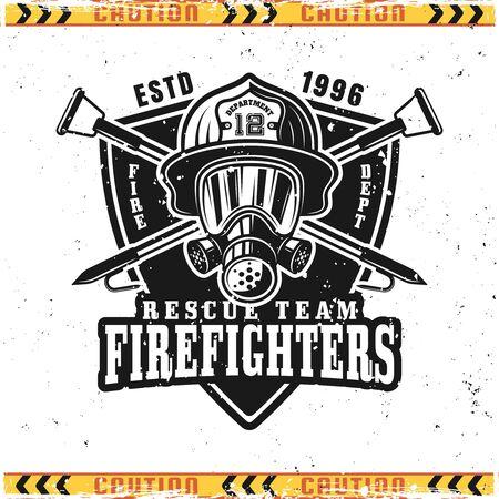 Chef de pompier en casque et masque à gaz emblème vectoriel, insigne, étiquette ou logo dans un style vintage isolé sur fond avec des textures grunge sur des calques séparés