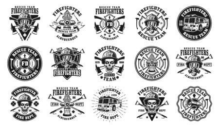 Firefighters big set of fifteen vector isolated emblems, badges, labels or logos in vintage black and white style