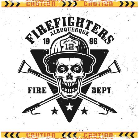 Firefighters vector emblem, badge, label or logo in vintage style with skull of fireman in helmet isolated on background with grunge textures on separate layers Illustration