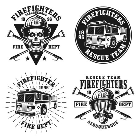 Firefighters set of four vector emblems, badges, labels or logos in vintage monochrome style isolated on white background